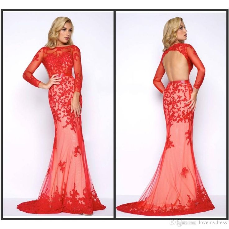 Mermaid Red Evening Gown Cheap Formal Wear Long Sweep Train Open Back Long Sleeve Lace Applique Elegant Women Fashion Gown Prom Prom Dress Patterns Prom Dress Shops Uk From Lovemydress, $111.91| Dhgate.Com