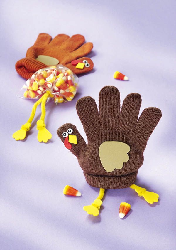 Turkey Glove Gobblers - Crafts 'n things -- stuff glove with a bag of treats! cute idea