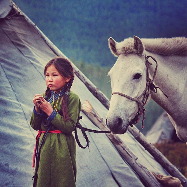 This girl lives in the Mongolian taiga along with her family. They are one of the few reindeer herders left in the world #mongolia #instatravel #travel