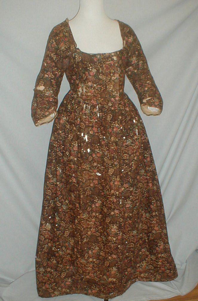 18th Century Floral Printed Cotton Dress   eBay