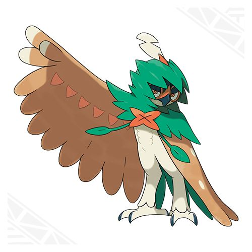 Decidueye- Grass/Ghost. Signature move: Spirit Shackle, a ghost type move that prevents switching out and fleeing.