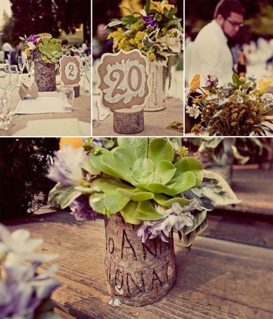 Hot Wedding Trend for 2013: #10 Bark / bark wedding table decorations