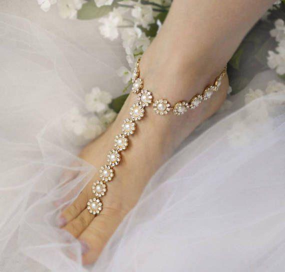 Bodas sandalias Descalzas oro, joyería nupcial perlas, joyería de diamantes de imitación, sandalia sin pies-SD029