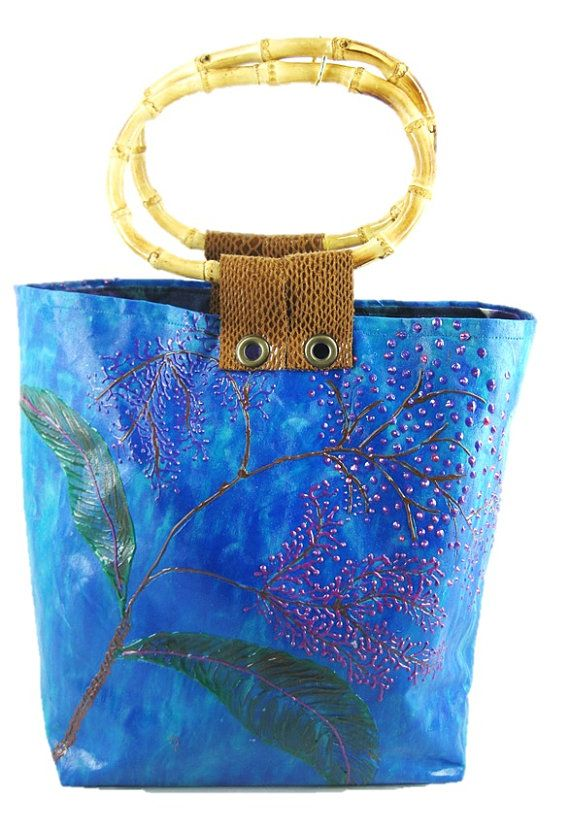 Ocean in a Tote : Designer Handcrafted Hand Painted Woman's Fashion by ArachneStyle, $110.00