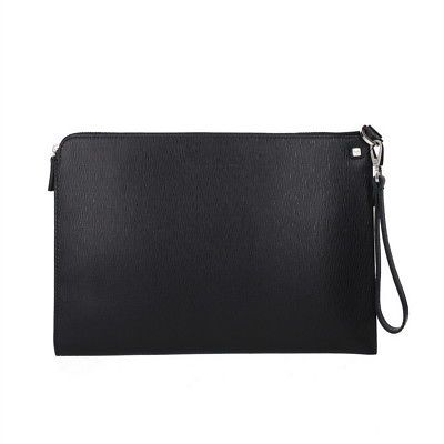 7613e066322a SALVATORE FERRAGAMO Black Textured Leather Handle Clutch Bag Made in Italy  NWB