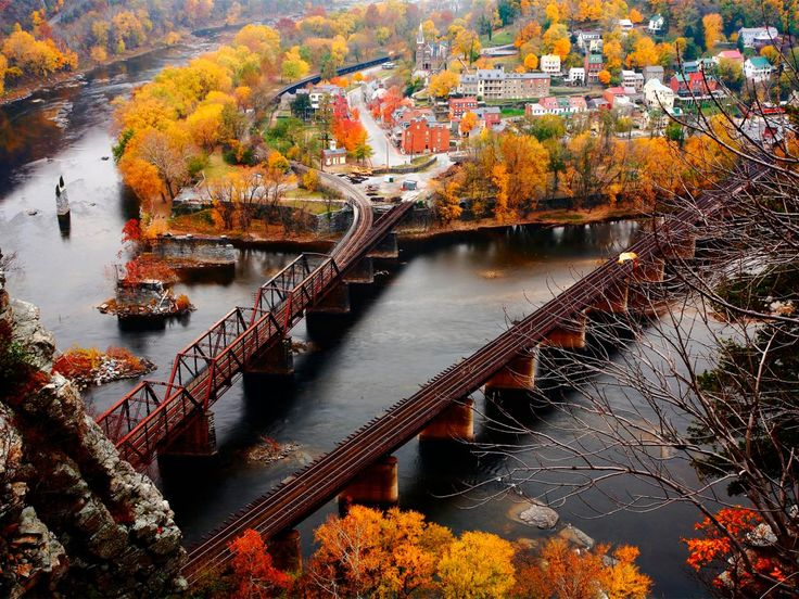 """""""An easy drive from Washington, DC, Harpers Ferry in West Virginia has fall foliage that's worth the drive the third to fourth week in October. When we take the kids, I like the Jefferson Rock hike, which is less than 1 mile and has a vista overlooking the Blue Ridge Mountains."""" -- <i>Erin Gifford, Family Travel Expert, Kidventurous.com</i>"""