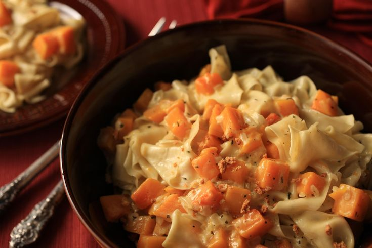 A rich fresh pappardelle with butternut squash and thyme cream sauce recipe.