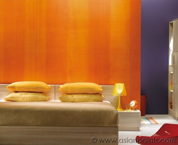Orange color bedroom walls