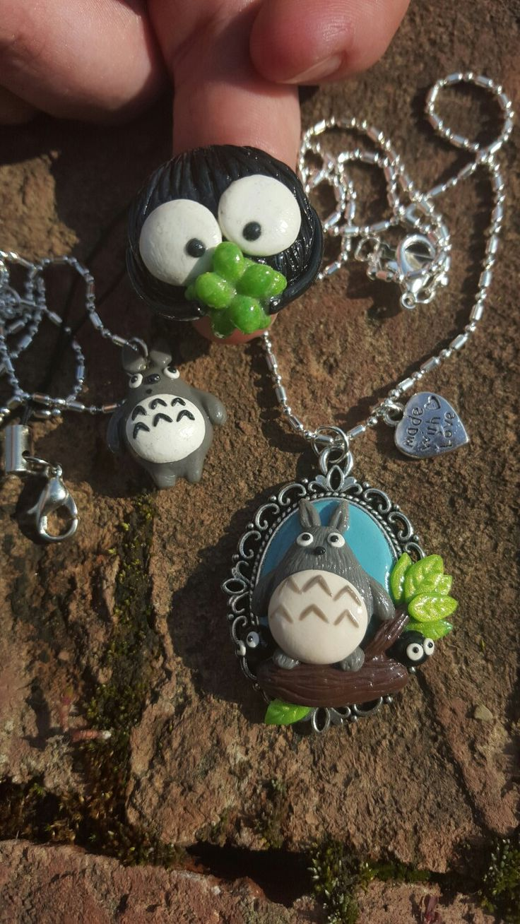 Totoro necklaces and soot sprite ring.