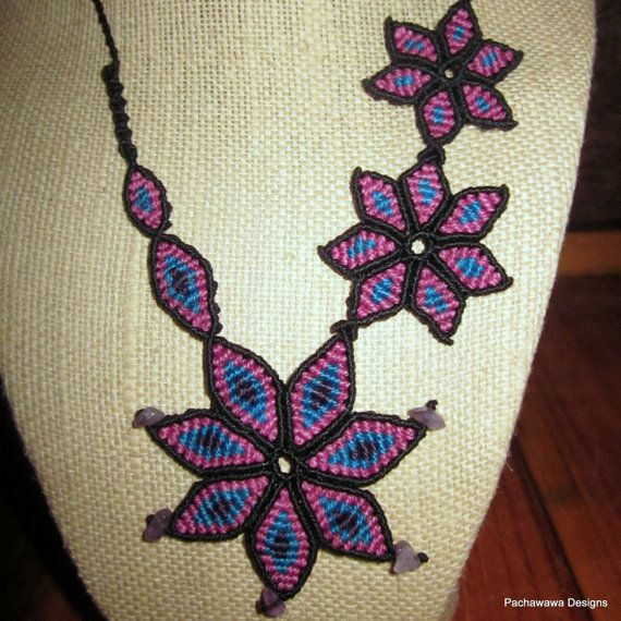 Purple Morning Glory Vine Macrame Necklace by pachawawa on Etsy, $55.00