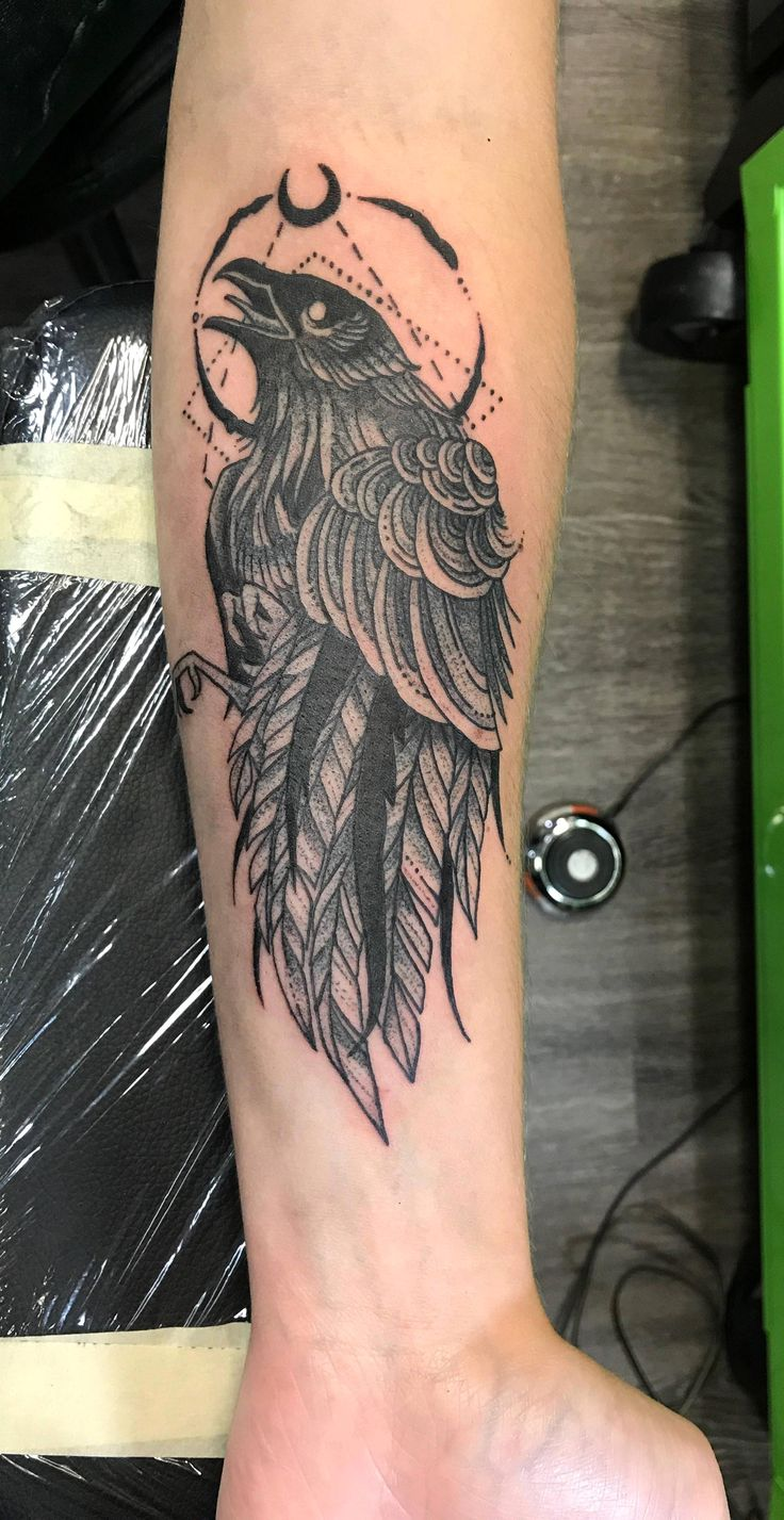 Crow by Aly @ Bicycle Tattoo in South Bend, Indiana