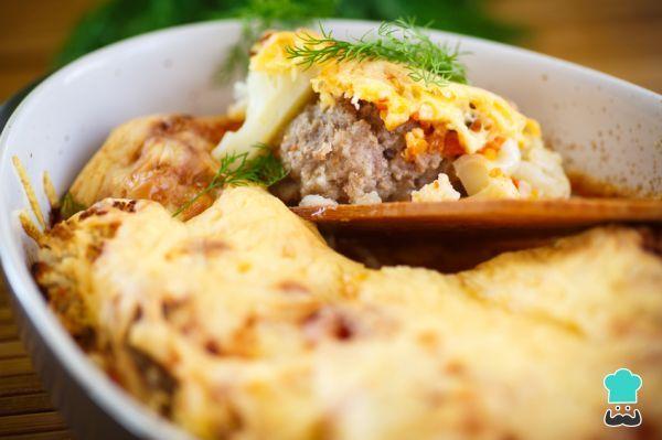 Receta de Pastel de coliflor y carne picada