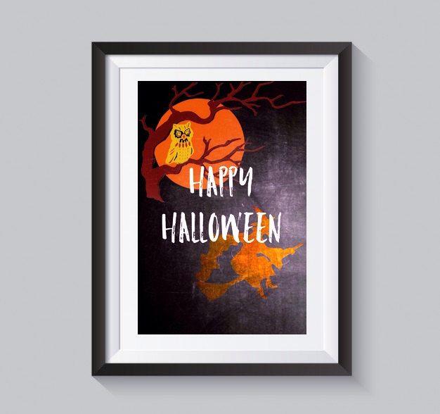 Happy Halloween Digital print orange chalk black Halloween wall art witch owl wall decor happy Halloween poster by S4StarSbySiSSy on Etsy https://www.etsy.com/ca/listing/480613909/happy-halloween-digital-print-orange