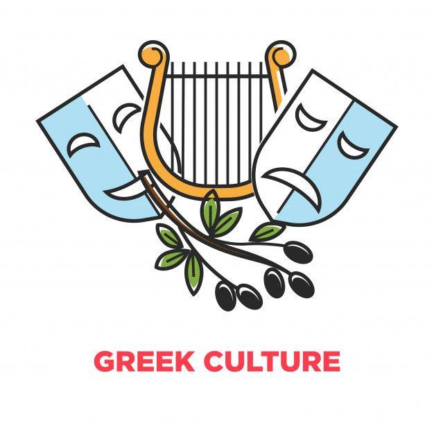 Cartel De Promocion De La Cultura Griega Con Simbolos Teatrales
