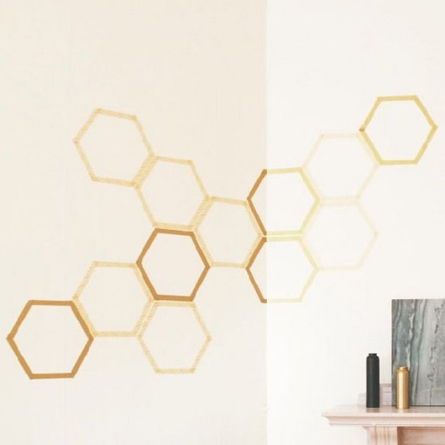 Diy Honeycomb Wall Art The Perfect Art Solution For Renters Use A Downloadable Template And Washi Tap Washi Tape Wall Art Tape Wall Art Washi Tape Wall Decor