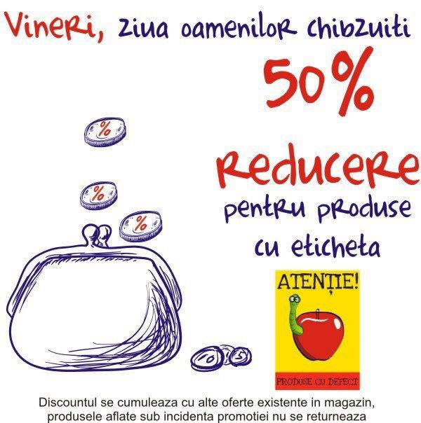 Vă aşteptăm până la orele 21 la miniPrix Otopeni cu o reducere de 50% pentru produsele cu mici defecte!