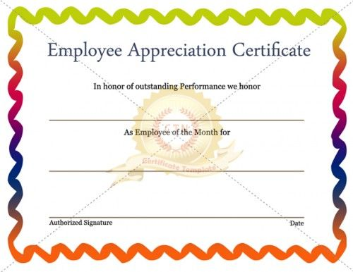 The 28 best Employee Award images on Pinterest Award certificates