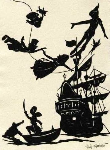 Peter Pan silhouette characters via www.Facebook.com/DisneylandForMisfits