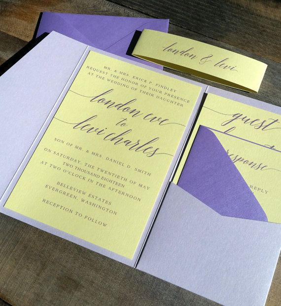 Purple And Yellow Wedding Invitation Suite Featuring A Light Pocketfold Card