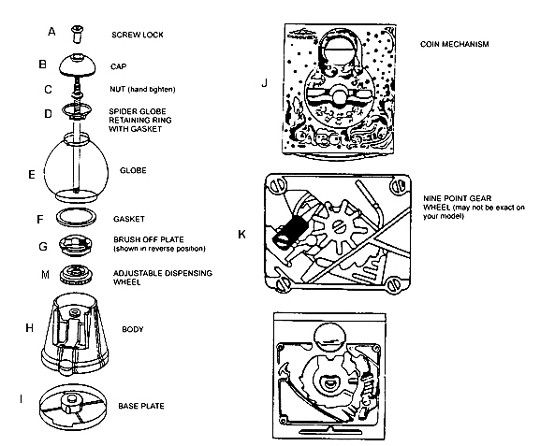 King Carousel Gumball Machine (15) Parts (With images