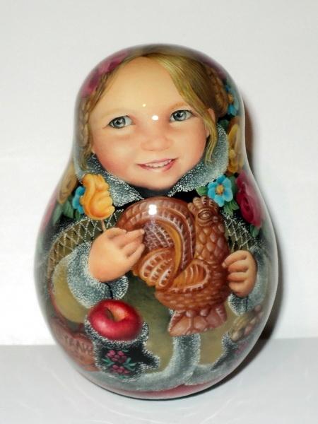 1 kind painting Russian SHAWL roly poly matryoshka nesting doll kid | eBay