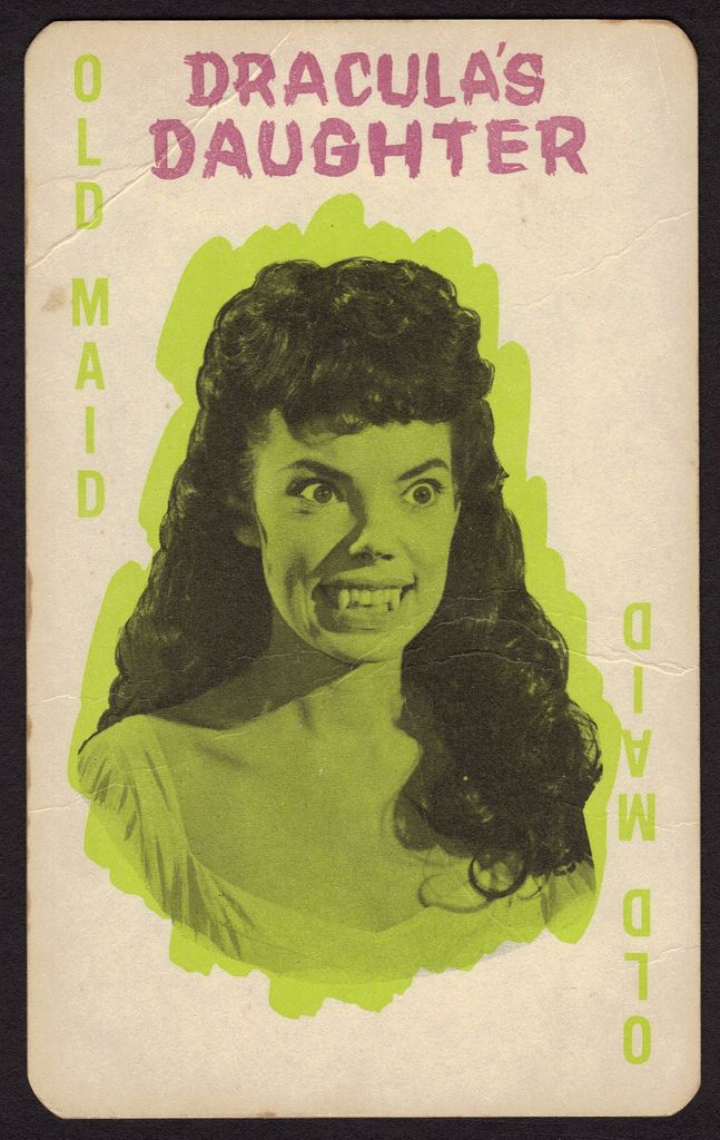 """Monster Old Maid by Milton Bradley - As a kid, I had no idea that one day this 'old maid' would turn out to be my favorite movie vampiress.  This is Andree Melly as Gina in the Hammer film """"The Brides of Dracula""""...I have this game still!  It is complete in the box and in very good condition."""