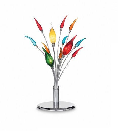 Lampada da tavolo garden Color Montatura centrale e steli in metallo cromato. Vetri copri lampade in vetro soffiato colorato. Elementi decorativi in pasta di vetro colorato.