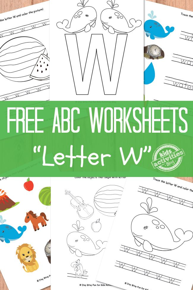 Free printable letter W worksheets.  Find the whole alphabet at Kids Activities Blog!