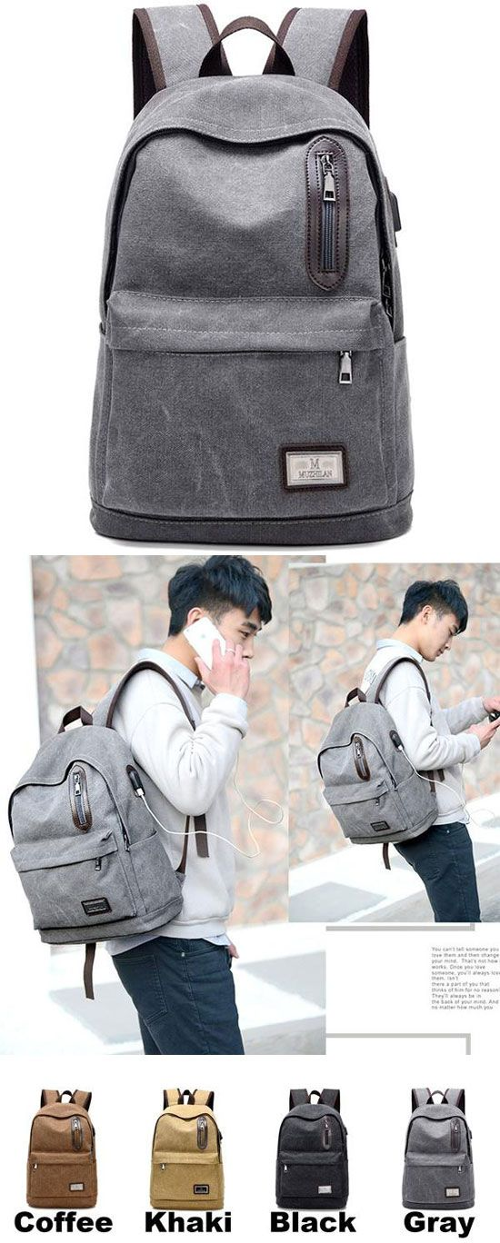 Pure Color Large School Bag USB Interface Zipper Decor Simple Student Canvas Backpacks for big sale! #large #school #student #backpack #bag #college
