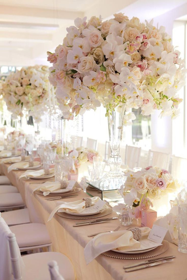 7 ways to transform a wedding space and add a touch of luxury blush centerpiececentrepiecesflower centerpiecespastel wedding centerpieceslong table