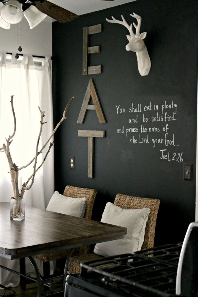 chalkboard wall // white deer head // old wood EAT sign