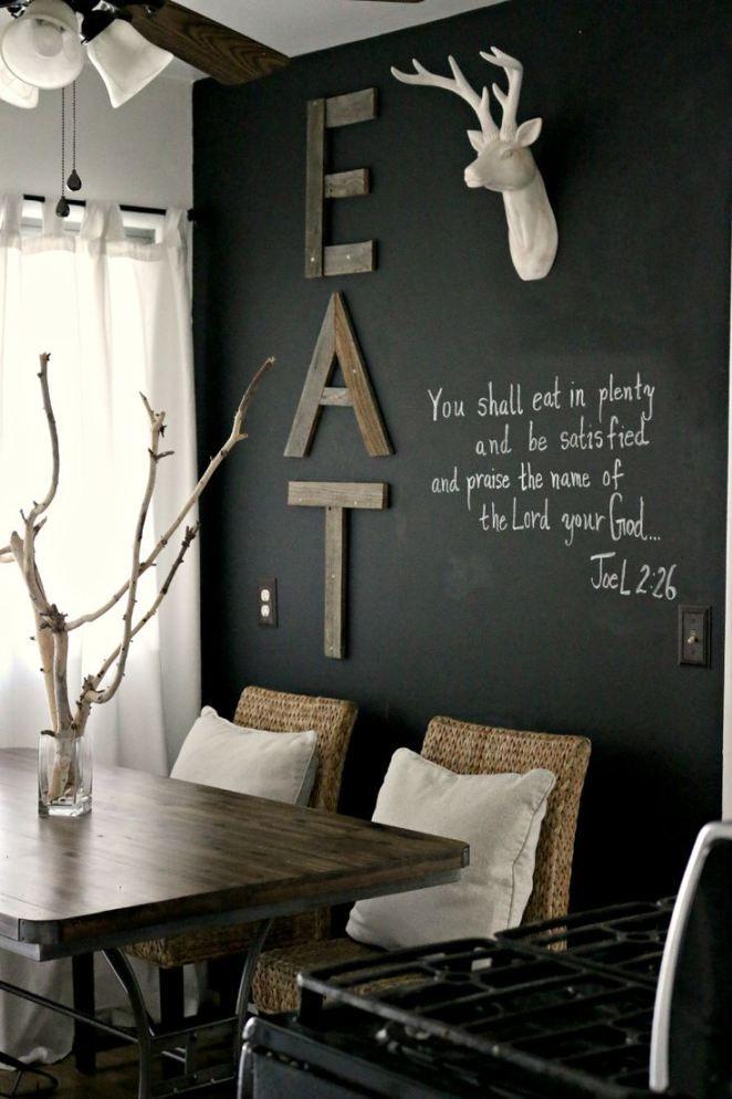 chalkboard wall // white deer head // old wood EAT sign