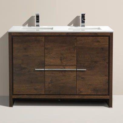 """Mercury Row Bosley 48"""" Double Modern Bathroom Vanity Set & Reviews   Wayfair"""
