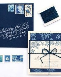 DIY Tutorial: Floral Indigo Wedding Invitations by Antiquaria via Oh So Beautiful Paper (3)