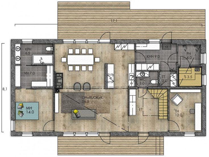 """Tykätään tässä pohjassa: """"master bedroom + walkthrough closet + bathroom"""" -kokonaisuudesta ajatuksena (ei toki tarvitse olla juuri noin toteutettu :)) ja keittiö+ olohuone -kokonaisuudesta (LATO 189 - Kannustalo)"""
