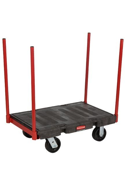 Handling truck with removable corner posts: Working cart with removable steel corner posts