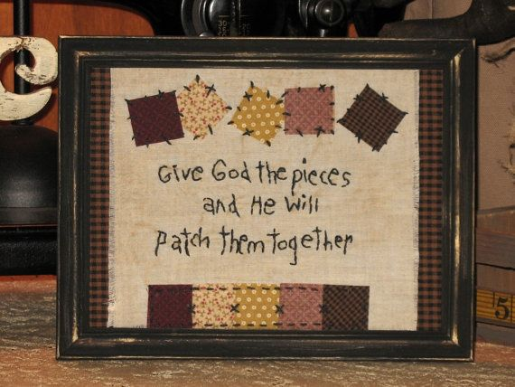 Primitive Country Decor Stitchery  Patchwork by MockaMooseMarket, $10.00