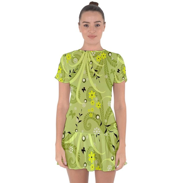 Flowers On A Green Background Drop Hem Mini Chiffon Dress •	Made from 100% Polyester •	Fitted style •	Double layered •	Fully Customizable •	Hand wash in cold water only •	Designs imprinted using an advance heat sublimation technique