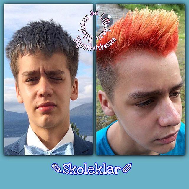 All ready for school to start again. This time his hair is on fire. #nikitalærling #nikitaamfinarvik #nikitahair #firehair #kolestonperfect…