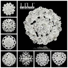 módní šperky Malá Stříbrná brož kytice náhrdelníky drahokamu piny klopy křišťálově Broches pro ženy svatbu (Čína (pevninská část))