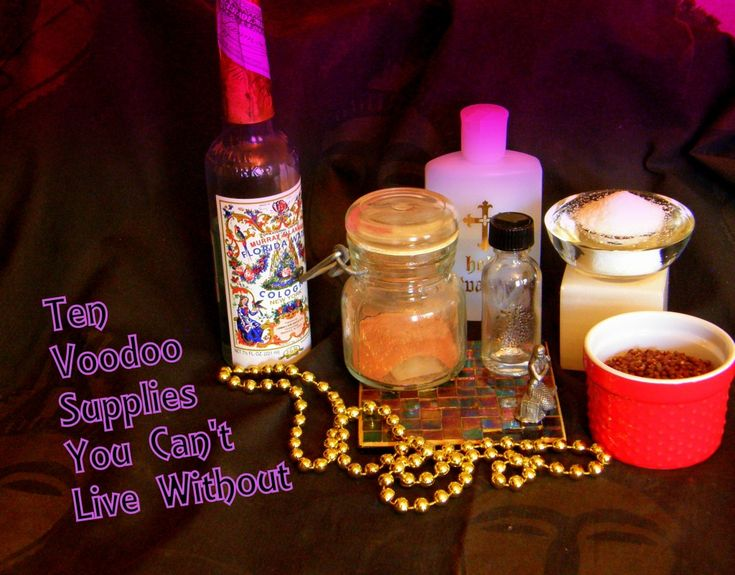 10 Voodoo Supplies you can't live without. Florida Water, Red Brick Dust, Black salt and more should be included in your magickal first aid kit. photo by Lilith Dorsey. All rights reserved