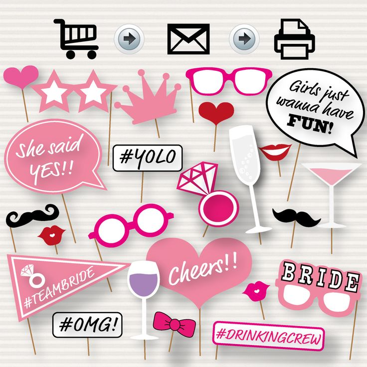 Printable Bridal Shower Photo Booth Props  Bride by SurpriseINC