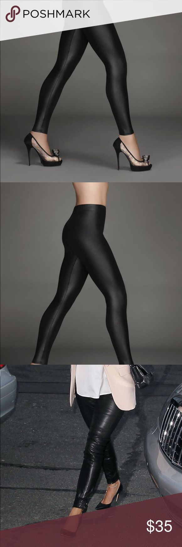 Kardashian Kollection Black Faux Leather Leggings Faux black leather leggings. I don't think I ever wore these. High-waisted and long enough for the tall ladies! Perfect for a date night look. Kardashian Kollection Pants Leggings