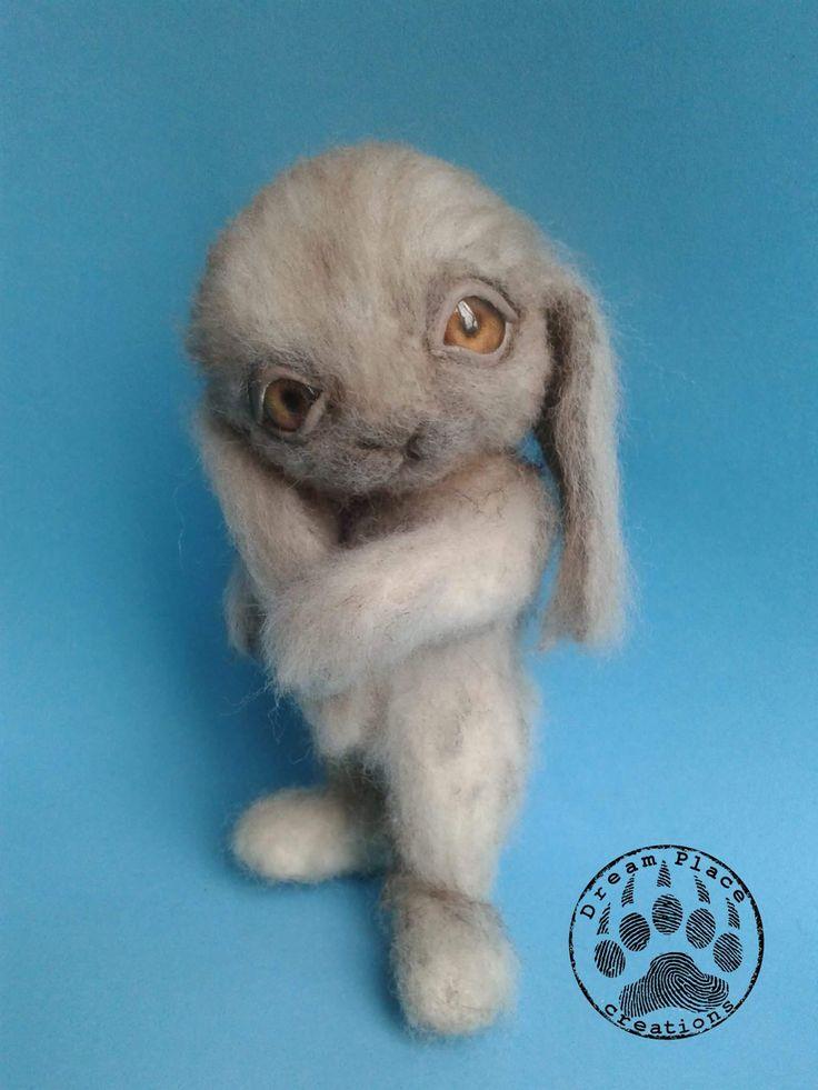 Needle felting rabbit