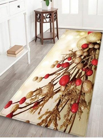 Christmas Balls Branch Pattern Water Absorption Area Rug Hsho