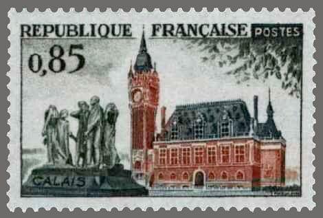Timbre de France annee 1961 - 1316 - Hotel de ville de Calais et monument ''Les bourgeois de Calais'' de Rodin - Serie touristique.jpg