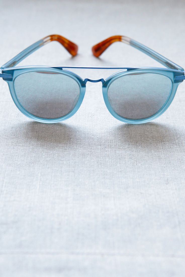 Add a pop of color to any outfit with these TOMS Harlan sunglasses in powder blue.