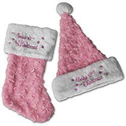 Baby's First Christmas Stocking and Hat, Pink