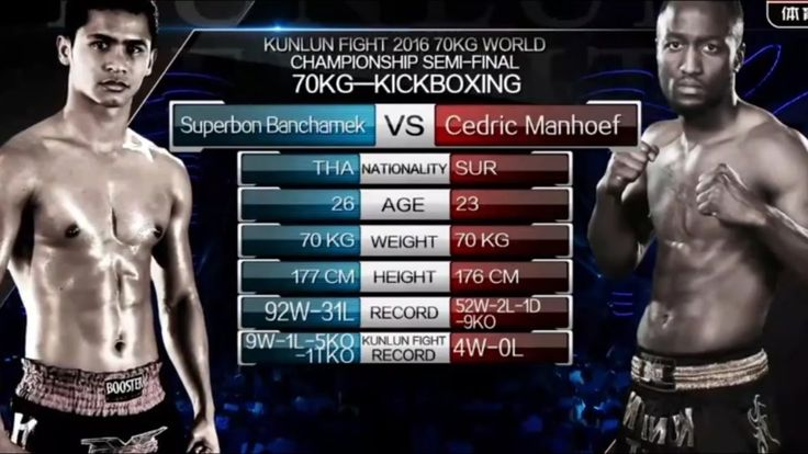 Superbon Banchamek THAI vs Cedric Manhoef NED   Kunlun Fight 56 70kg Sem...