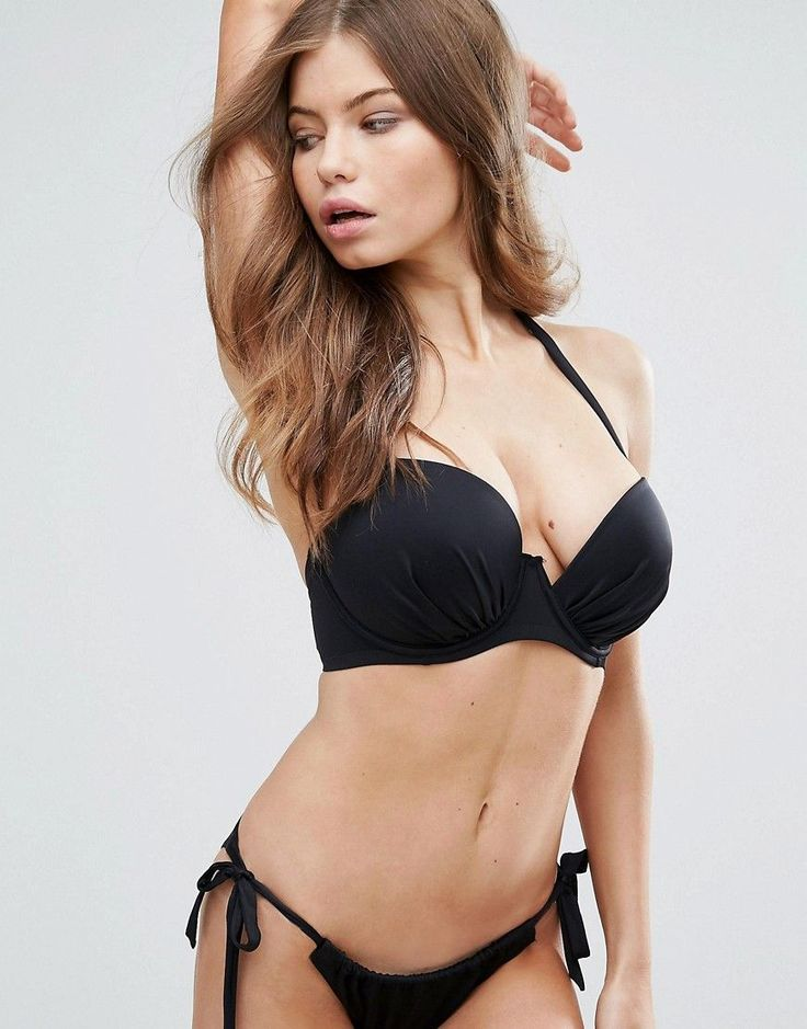 Pour Moi Instaglam Cut Away Padded Bikini Top C-F Cup - Black